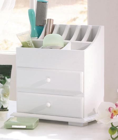 White Makeup Drawer Organizer
